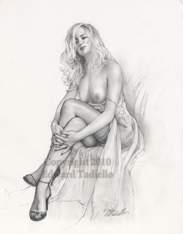 Christina original pin up pencil sketch