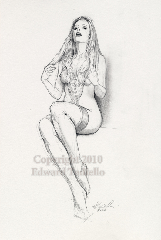Heather 2 original pinup sketch