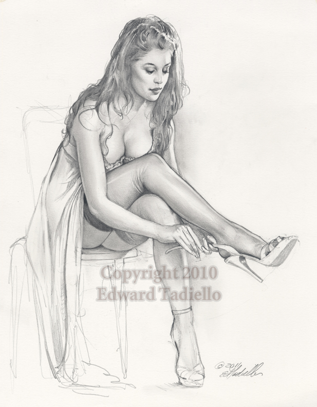 New Shoes origional pinup pencil sketch