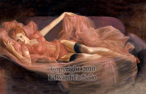 pretty in pink pin-up painting large