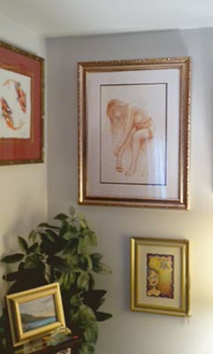photo of edward tadiello drawing  in a collectors home