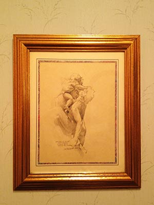 edward tadiello's drawing in a collectors home